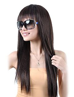 Sin tapón sintético de alta calidad a largo recto Brown pelucas de pelo