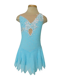 Dumb Light Spandex Elasticated Net Lace Flowers Figure Skating Clothing Blue