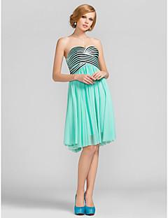 라인 예쁜 무릎 길이 줄무늬 명주 칵테일 드레스