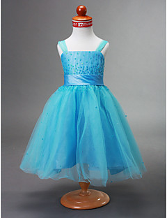 볼 가운 끈 차 길이 태 피터 꽃의 소녀 드레스