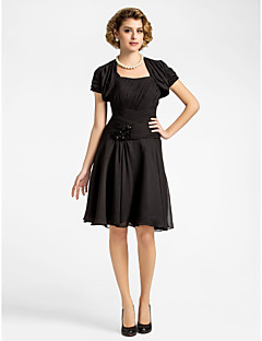 Lanting A-line Plus Sizes / Petite Mother of the Bride Dress - Black Knee-length Short Sleeve Chiffon