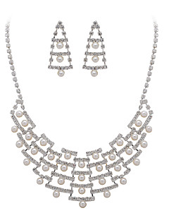 Gorgeous Clear Crystals And Imitation Pearls Wedding Jewelry Set,Including Necklace And Earrings
