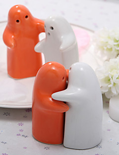 White & Orange Ceramic Salt & Pepper Shakers