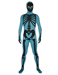 Blue and Black Skeleton Pattern Lycra Zentai