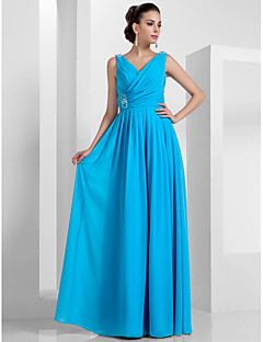 Formal Evening/Prom/Military Ball Dress - Pool Plus Sizes Sheath/Column V-neck Floor-length Chiffon