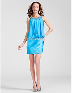 Cocktail Party Dress - Plus Size / Petite Sheath/Column Scoop Short/Mini Chiffon / Stretch Satin