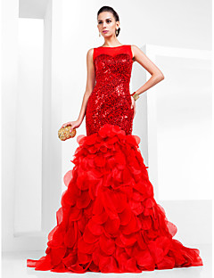 TS Couture® Prom / Formal Evening Dress - Ruby Plus Sizes / Petite Trumpet/Mermaid Bateau Court Train Sequined / Organza