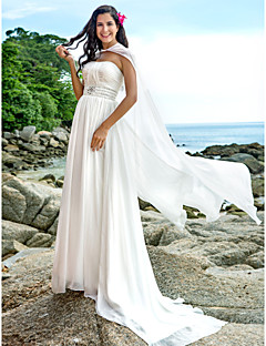 A-line Plus Sizes Wedding Dress - Ivory Sweep/Brush Train Strapless Chiffon