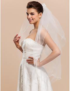Duas camadas dedo véu do casamento com bowknot fita E Lápis Borda