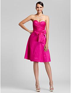 Knee-length Taffeta Bridesmaid Dress - Fuchsia Plus Sizes / Petite A-line / Princess Sweetheart / Strapless
