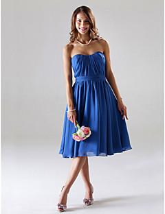 신부 들러리 드레스 - 로얄 블루 A라인/프린세스 티 길이 스트랩 없음/스위트하트 쉬폰 플러스 사이즈