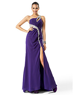 Formal Evening / Prom / Military Ball Dress - Regency Plus Sizes / Petite Sheath/Column One Shoulder Sweep/Brush Train Chiffon