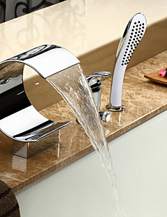 Modern Romeins bad Waterval / Inclusief handdouche with  Keramische ventiel Single Handle drie gaten for  Chroom , Badkraan