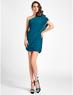 Homecoming Cocktail Party Dress - Ink Blue Plus Sizes Sheath/Column One Shoulder Short/Mini Chiffon