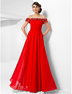 Formal Evening/Military Ball Dress - Ruby Plus Sizes A-line/Princess Off-the-shoulder Floor-length Chiffon
