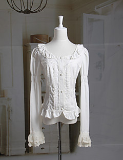 Long Sleeve Ruffled Collar Hvit bomull Classic Lolita Bluse
