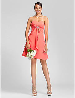 Homecoming Bridesmaid Dress Knee Length Chiffon A Line Sweetheart Dress