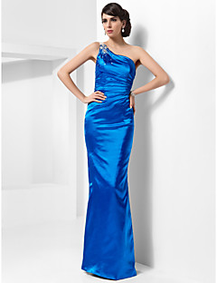 Formal Evening/Military Ball Dress - Ocean Blue Plus Sizes Sheath/Column One Shoulder Floor-length Stretch Satin