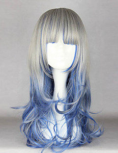 Zipper Gray and Blue Mixed Color 60cm Country Lolita Wig