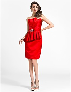 TS Couture® Cocktail Party / Wedding Party Dress - Short Plus Size / Petite Sheath / Column Scalloped Knee-length Satin with Beading / Draping / Side