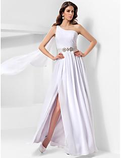Vestito - Bianco Sera/Ballo Militare Trapezio/Stile Principessa Monospalla A Terra Chiffon Taglie grandi