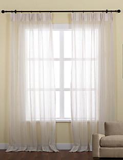2パネル ウィンドウトリートメント 新古典主義 , 縞柄 ポリエステル 材料 シアーカーテンシェード ホームデコレーション For 窓
