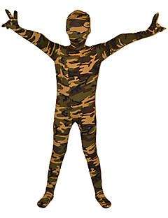 Patterned Zentai Suits Ninja Zentai Cosplay Costumes Green Print Leotard/Onesie / Zentai Lycra Kid Halloween / Christmas