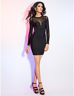 Cocktail Party / Holiday Dress - Black Petite Sheath/Column Jewel Short/Mini Rayon