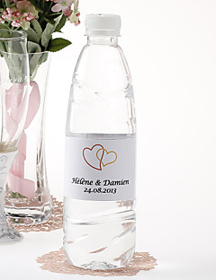 Personalized Water Bottle Sticker - Double Heart (Orange/Set of 15)