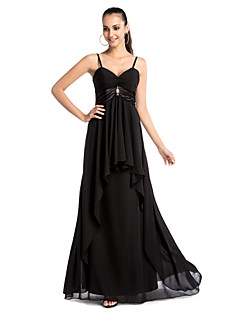 Formal Evening/Military Ball Dress - Black Plus Sizes Sheath/Column V-neck/Spaghetti Straps Floor-length Chiffon