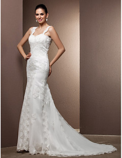 Lanting Bride Trumpet/Mermaid Petite / Plus Sizes Wedding Dress-Court Train Square Lace / Tulle