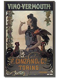 arte tela stampata annata vino vermouth Cinzano Torino da collezione vintage di mele con telaio allungato