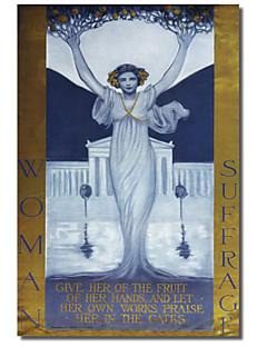 stampata su tela arte vintage woman suffragio per collezione mela vintage con telaio allungato