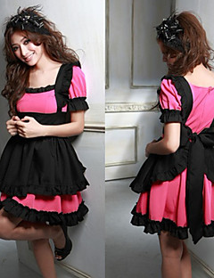 Cute Girl Black and Fuschia Polyester Maid Uniform (2 Stück)