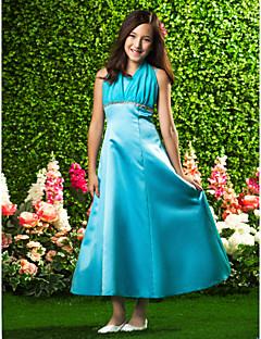 Lanting Bride® Ankellang Chiffon / Sateng Junior brudepikekjole A-linje / Prinsesse Haltertopp Høyt liv med Perler