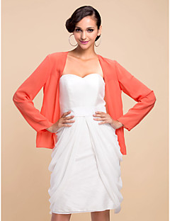 כורכת חתונה מעילים / מעילים שרוול ארוך שיפון לבן מסיבה / ערב חולצת טי פתח חזית