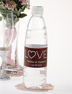 Gepersonaliseerde fles water sticker - Love (Bruin Blauw / set van 15)