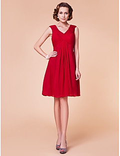 Sheath/Column Plus Sizes Mother of the Bride Dress - Ruby Knee-length Sleeveless Chiffon