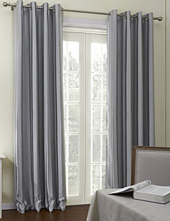 (Two Panels Grommet Top) Contemporary Grey Stripes Room Darkening Curtain
