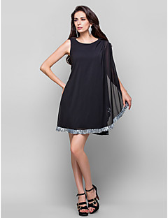 TS Couture® Cocktail Party Dress - Black Plus Sizes / Petite Sheath/Column Jewel Short/Mini Chiffon