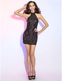 Cocktail Party Dress - Black Plus Sizes/Apple/Hourglass/Inverted Triangle/Pear/Petite/Misses Sheath/Column High Neck Short/Mini Lace