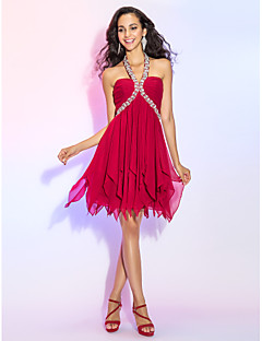 Homecoming Cocktail Party/Homecoming/Prom Dress - Burgundy Plus Sizes A-line/Princess Halter Short/Mini Chiffon