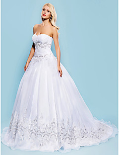 Ball Gown Plus Sizes Wedding Dress - White Court Train Sweetheart Organza