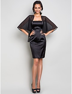 Homecoming Cocktail Party/Wedding Party Dress - Black Plus Sizes Sheath/Column Strapless Knee-length Stretch Satin/Chiffon