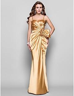 a-line princessスパゲッティストラップ恋人の床の長さストレッチサテンのドレス花とtscouture®