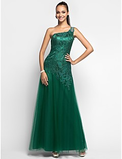 TS Couture® Prom / Formal Evening / Military Ball Dress - Open Back Plus Size / Petite Sheath / Column One Shoulder Floor-length Lace / Tulle with