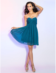 Cocktail Party Dress - Ink Blue Plus Sizes / Petite A-line Sweetheart Knee-length Chiffon
