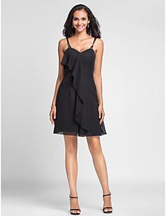 Short/Mini Chiffon Bridesmaid Dress - Black Plus Sizes / Petite Sheath/Column Spaghetti Straps / Sweetheart