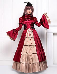 Flare Sleeve Floor-length Red Satin Classic Lolita Victorian Dress