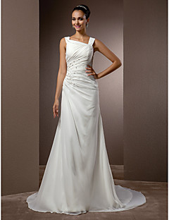 Lan Ting Sheath/Column Plus Sizes Wedding Dress - Ivory Court Train Straps Chiffon